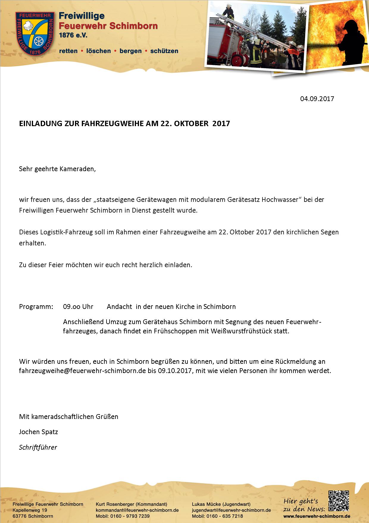 Einladung Fahrzeugweihe